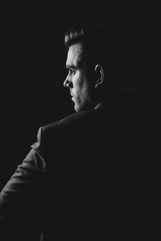 man, portrait, black and white
